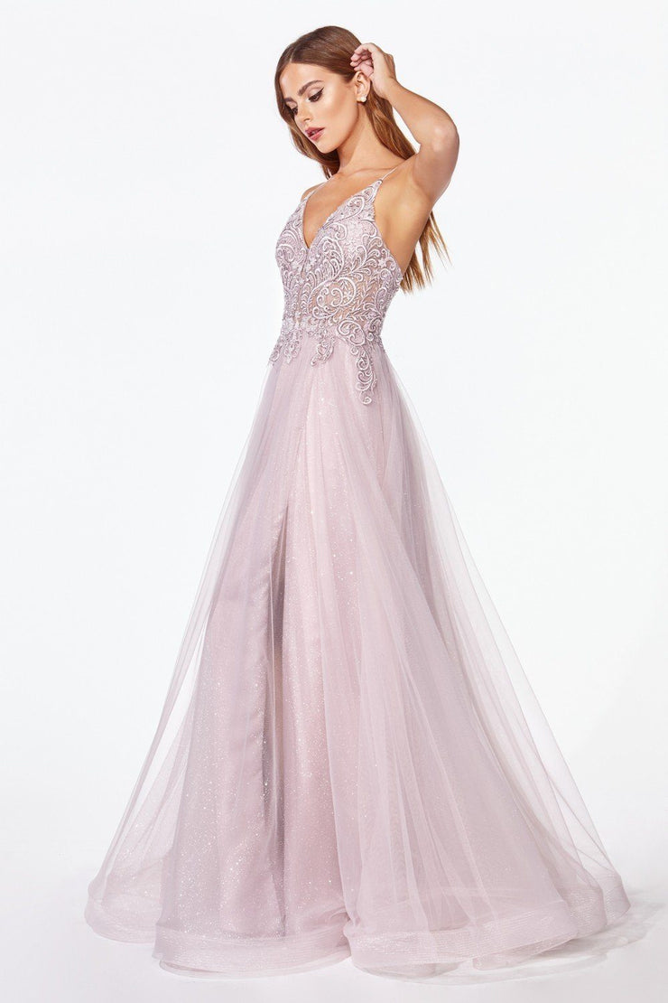 Long Glitter Tulle Dress with Lace Bodice by Cinderella Divine KC897-Long Formal Dresses-ABC Fashion