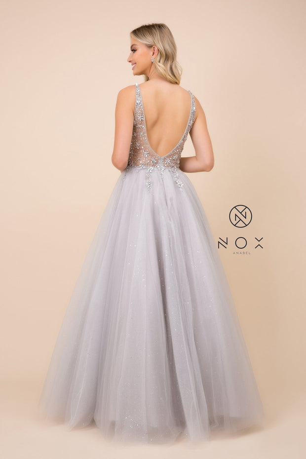 Long Glitter Tulle Dress with Sheer Bodice by Nox Anabel D322