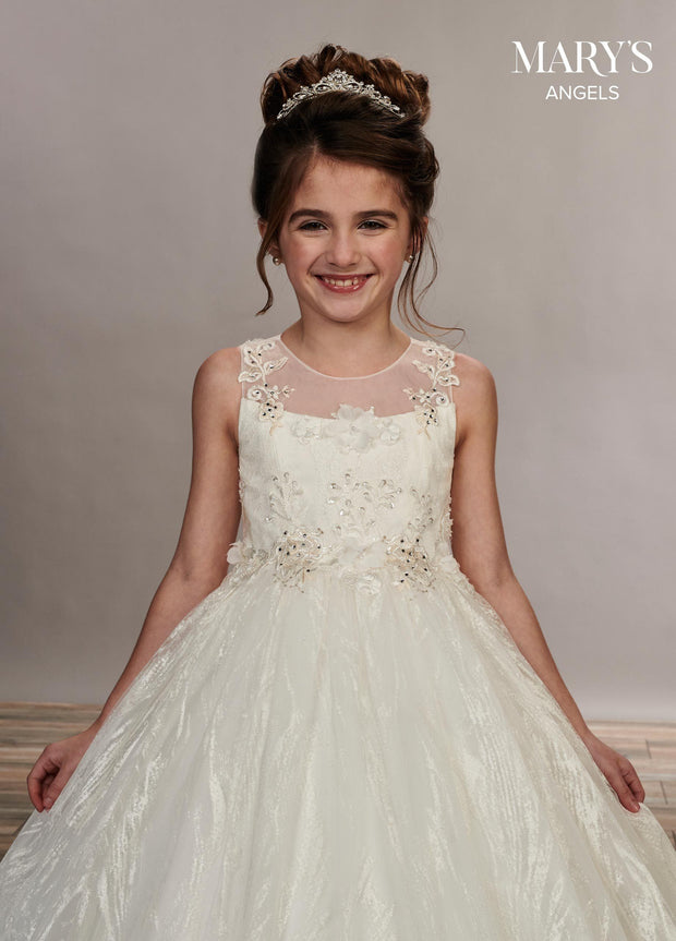 Long Glitter Tulle Flower Girl Dress by Mary's Bridal MB9052-Girls Formal Dresses-ABC Fashion