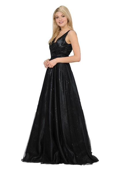 Long Glitter V-Neck Dress with Open Back by Poly USA 8338-Long Formal Dresses-ABC Fashion