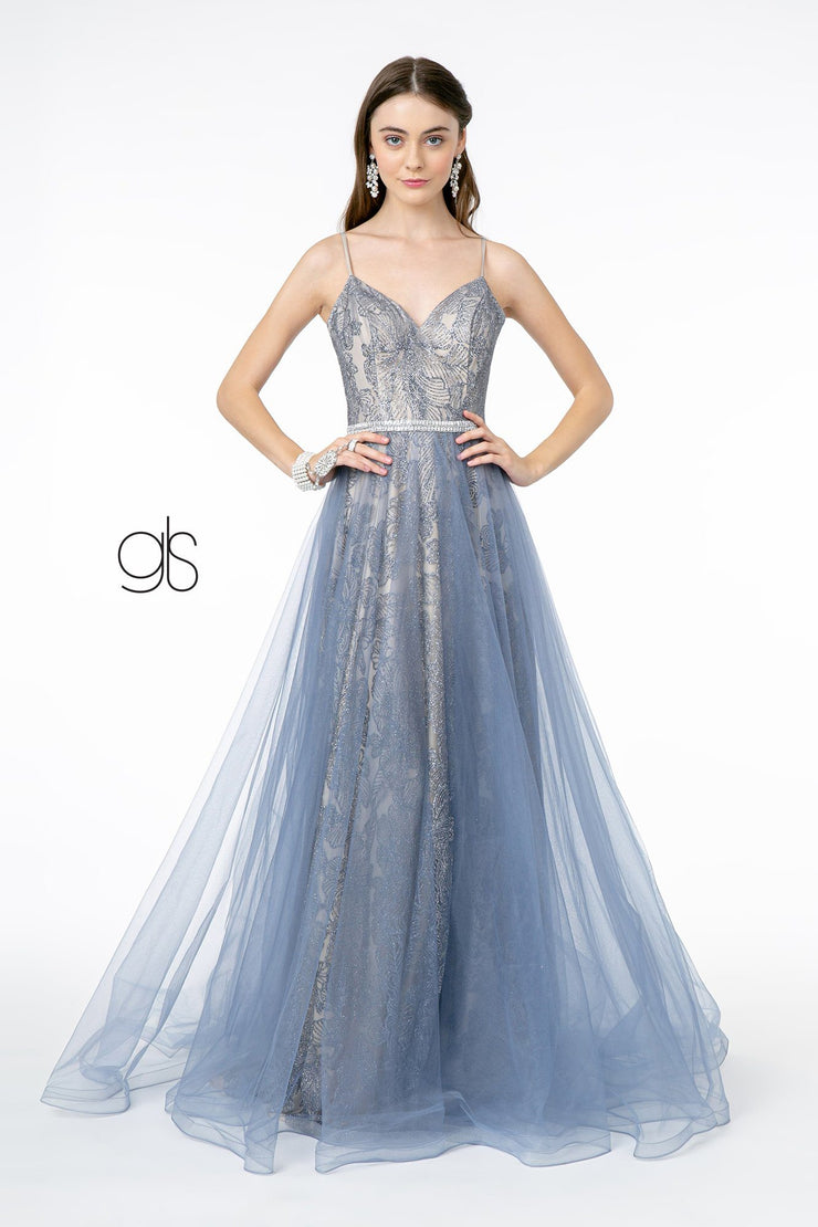 Long Glitter V-Neck Dress with Tulle Skirt by Elizabeth K GL2993