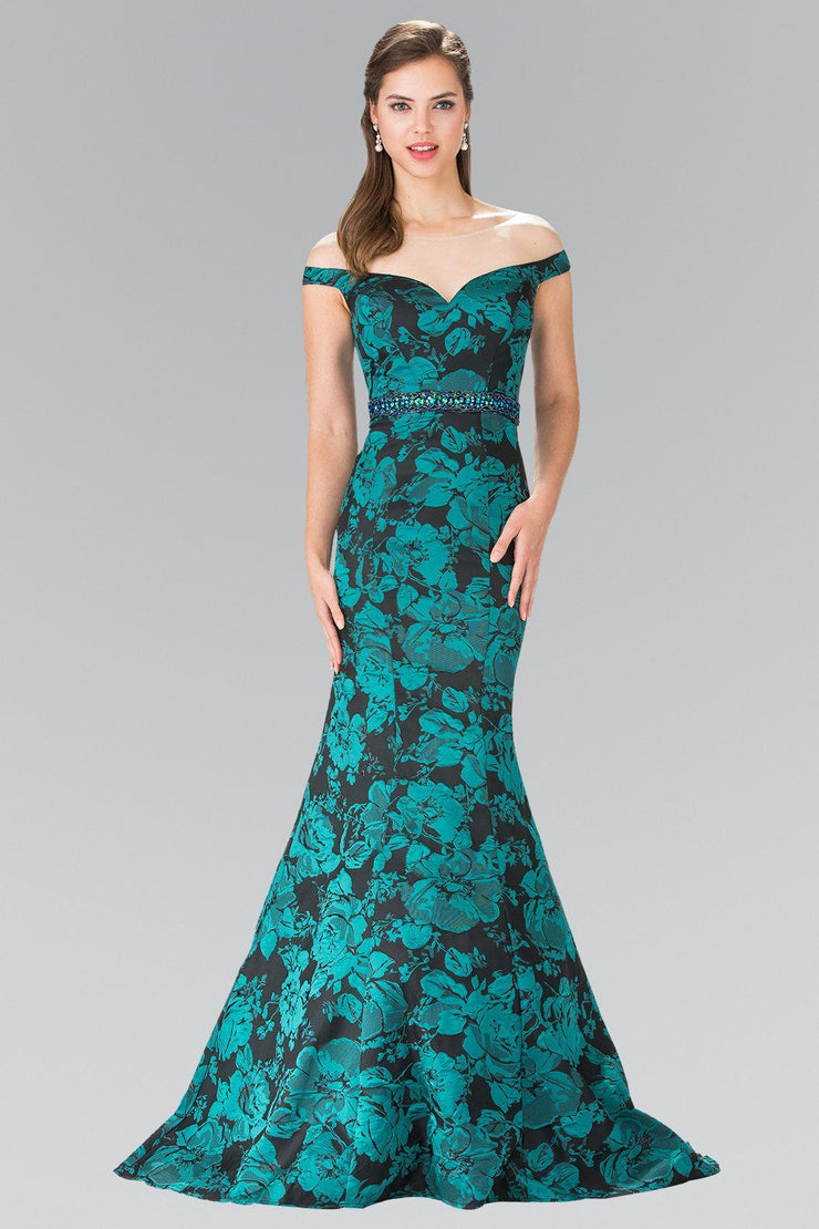 Long Green Floral Print Off The Shoulder Dress by Elizabeth K GL2245-Long Formal Dresses-ABC Fashion