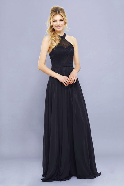Long Halter Chiffon Dress with Lace Bodice by Nox Anabel 8233-Long Formal Dresses-ABC Fashion