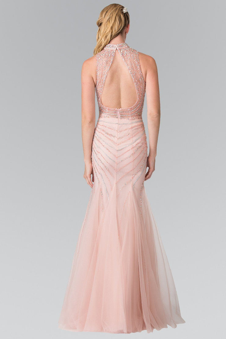 Long Halter Dress with Beaded Illusion Top by Elizabeth K GL2330-Long Formal Dresses-ABC Fashion