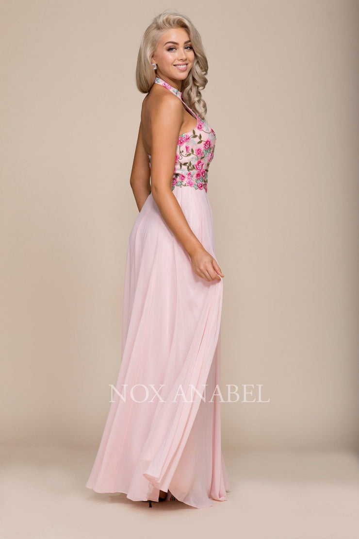 Long Halter Dress with Floral Embroidery by Nox Anabel 8326-Long Formal Dresses-ABC Fashion