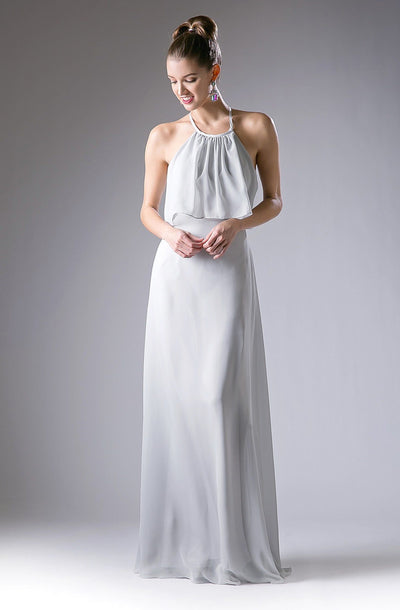 Long Halter Dress with Flounce Bodice Cinderella Divine 13031-Long Formal Dresses-ABC Fashion