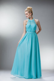 Long Halter Dress with Gathered Bodice by Cinderella Divine 1469-Long Formal Dresses-ABC Fashion
