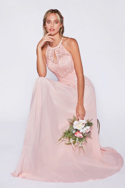 Long Halter Dress with Lace Bodice by Cinderella Divine CJ228-Long Formal Dresses-ABC Fashion