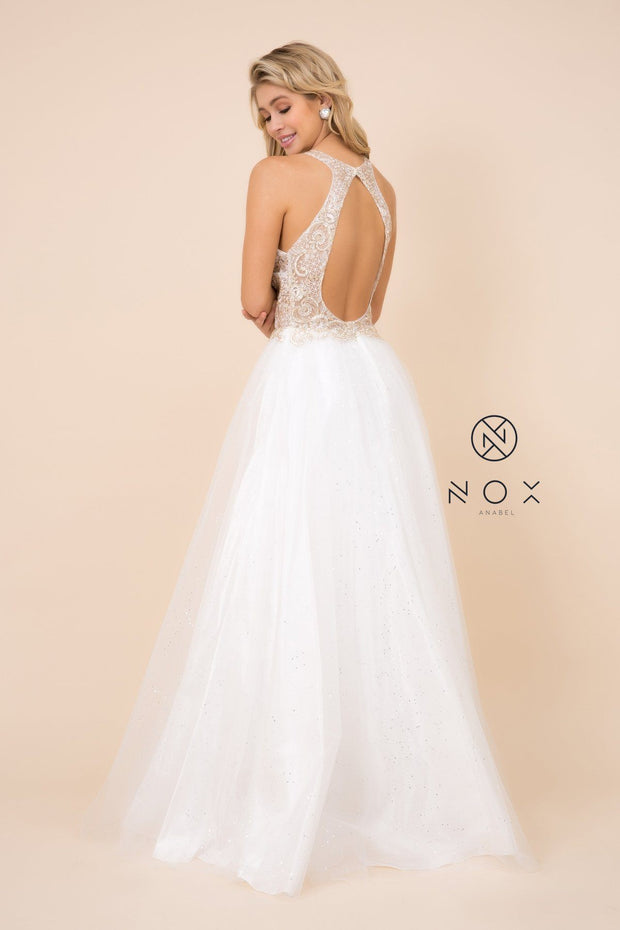 Long Halter Dress with Sheer Applique Bodice by Nox Anabel E158