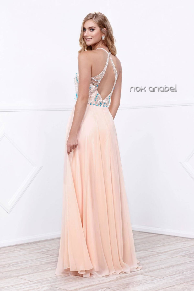 Long Halter Illusion Dress with Jeweled Bodice by Nox Anabel 8276-Long Formal Dresses-ABC Fashion