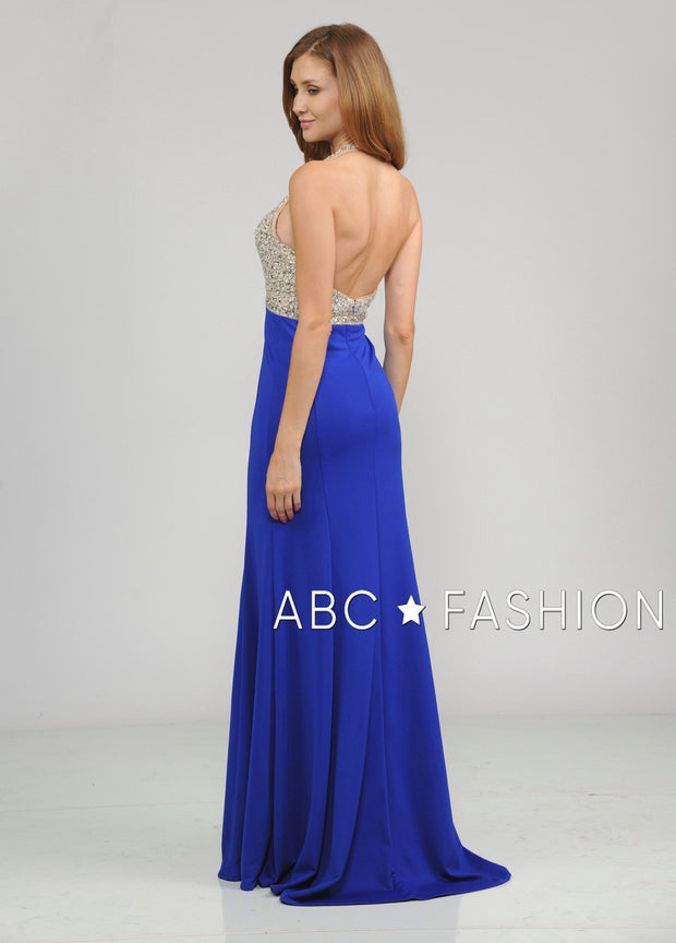 Long Halter V-Neck Dress with Beaded Bodice by Poly USA 8276-Long Formal Dresses-ABC Fashion