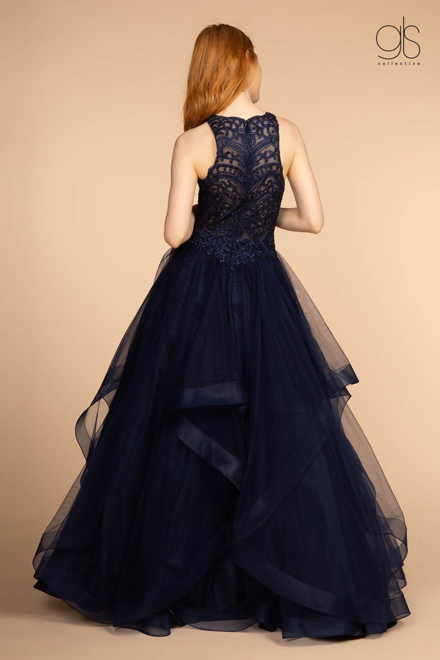 Long High Neck Ball Gown with Embroidered Bodice by GLS Gloria GL2528-Long Formal Dresses-ABC Fashion