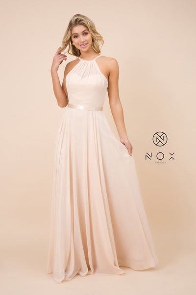 Long High-Neck Chiffon Dress with Corset Back by Nox Anabel Y102