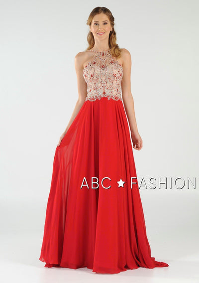 Long High Neck Dress with Beaded Illusion Bodice by Poly USA 7826-Long Formal Dresses-ABC Fashion