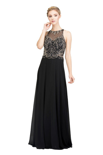 Long High Neck Dress with Beaded Illusion Bodice by Star Box 6333-Long Formal Dresses-ABC Fashion
