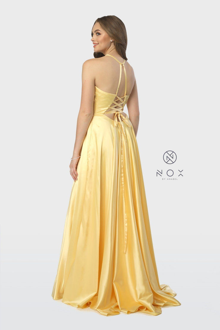 Long High-Neck Dress with Corset Open Back by Nox Anabel C209-Long Formal Dresses-ABC Fashion