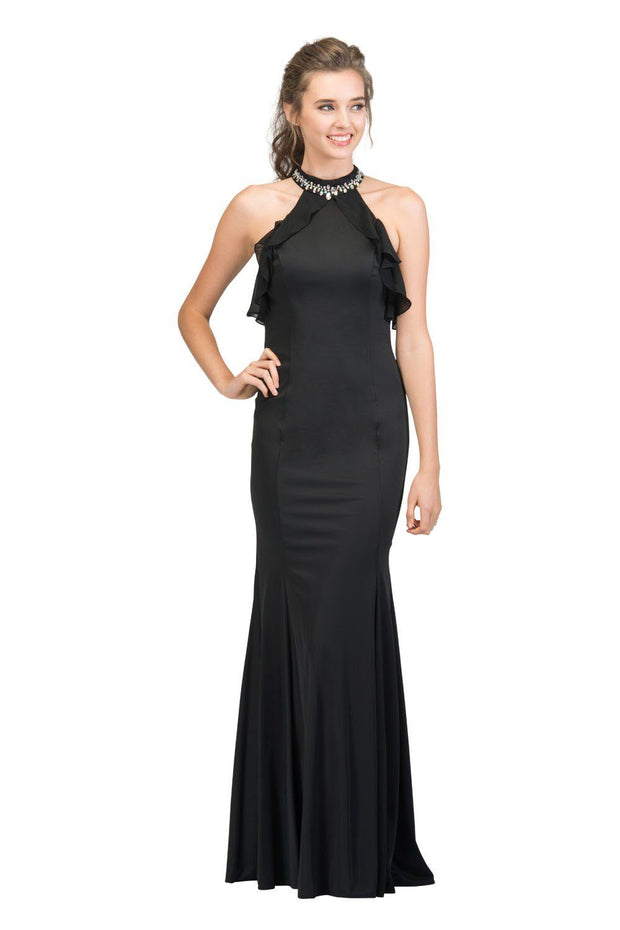 Long High Neck Dress with Ruffled Top by Star Box 17317-Long Formal Dresses-ABC Fashion