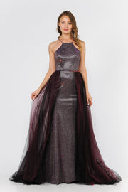 Long High-Neck Metallic Glitter Dress by Poly USA 8386-Long Formal Dresses-ABC Fashion