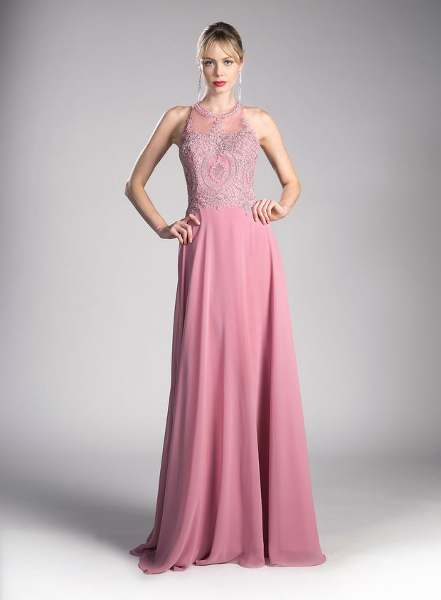Long Illusion Dress with Appliqued Bodice by Cinderella Divine UJ0120-Long Formal Dresses-ABC Fashion