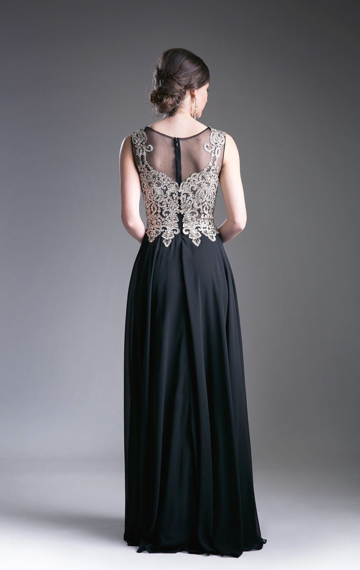 Long Illusion Dress with Beaded Embroidery by Cinderella Divine 2635-Long Formal Dresses-ABC Fashion