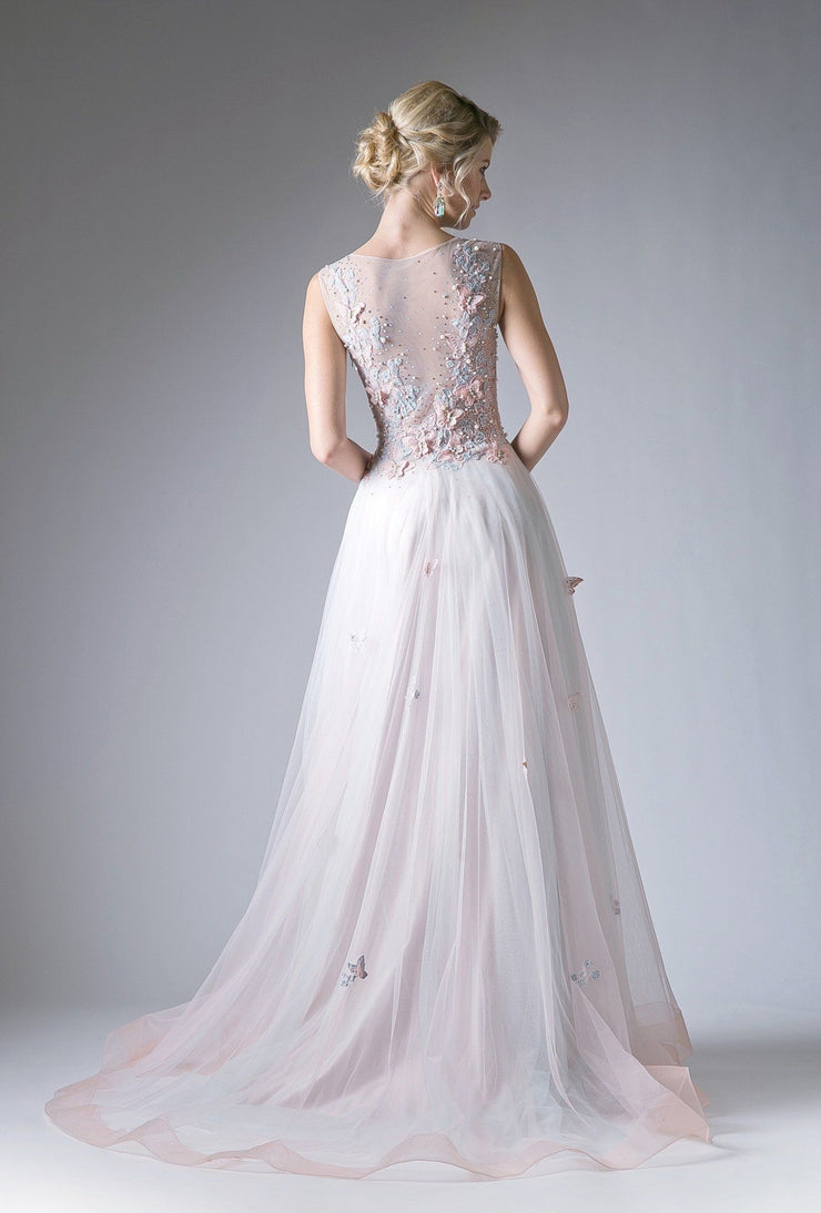Long Illusion Dress with Butterfly Embellishments by Cinderella Divine 1652-Long Formal Dresses-ABC Fashion