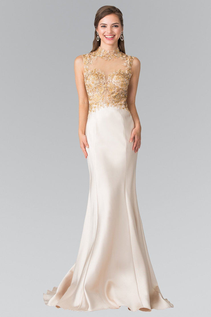 Long Illusion Dress with Embroidered Bodice by Elizabeth K GL2226-Long Formal Dresses-ABC Fashion
