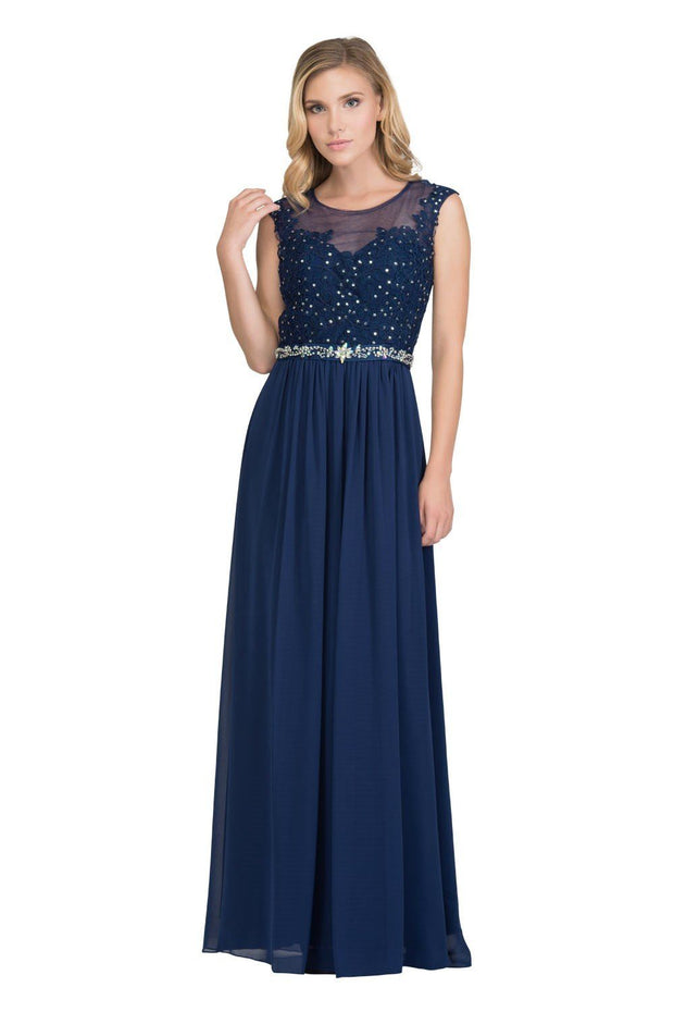 Long Illusion Dress with Floral Appliques by Star Box 6169-Long Formal Dresses-ABC Fashion