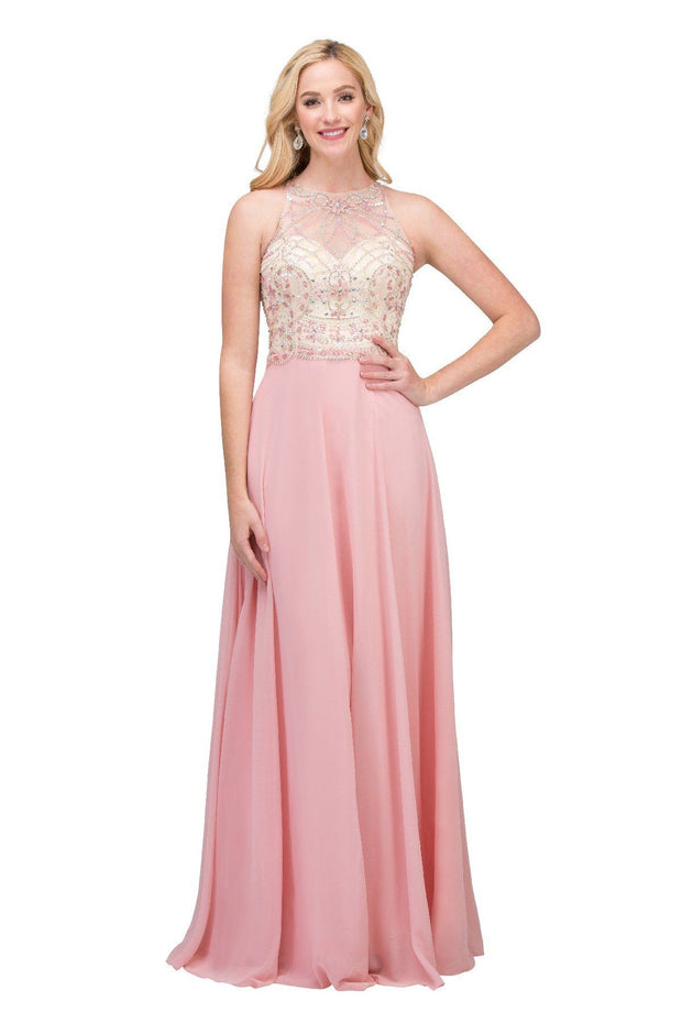 Long Illusion Dress with Floral Beaded Bodice by Star Box 6335-Long Formal Dresses-ABC Fashion