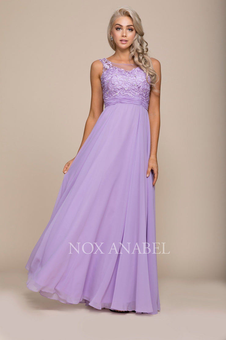Long Illusion Dress with Lace Bodice by Nox Anabel 8334-Long Formal Dresses-ABC Fashion