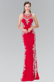 Long Illusion Dress with Open Back by Elizabeth K GL2320-Long Formal Dresses-ABC Fashion