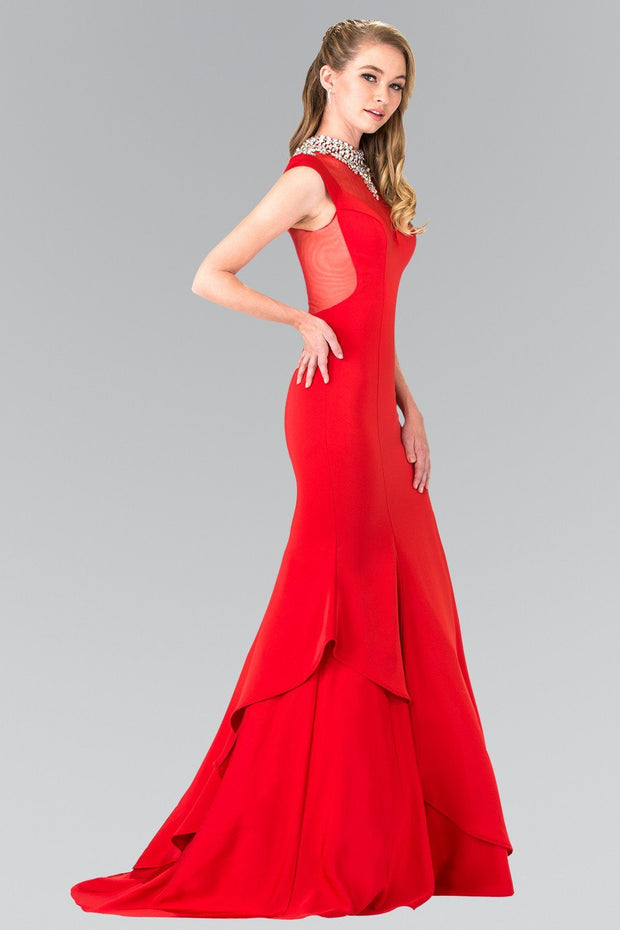 Long Illusion Mermaid Dress with Beaded Neck by Elizabeth K GL2242-Long Formal Dresses-ABC Fashion