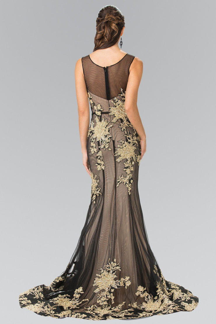 Long Illusion Mermaid Gown with Embroidery by Elizabeth K GL2335-Long Formal Dresses-ABC Fashion