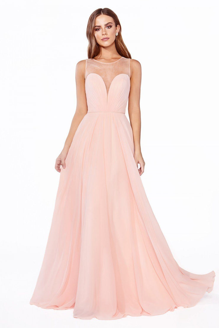 Long Illusion Sweetheart Chiffon Dress by Cinderella Divine CJ251