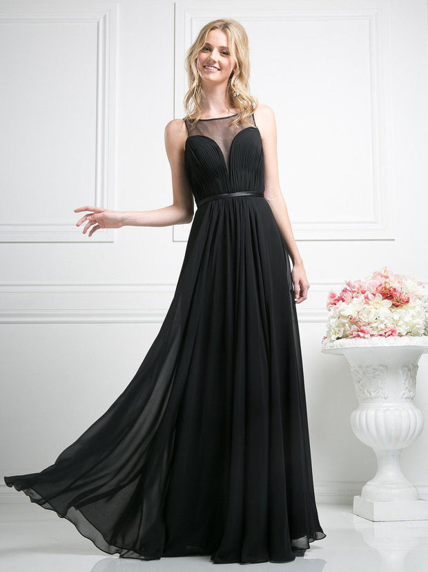 Long Illusion Sweetheart Dress by Cinderella Divine 7458-Long Formal Dresses-ABC Fashion