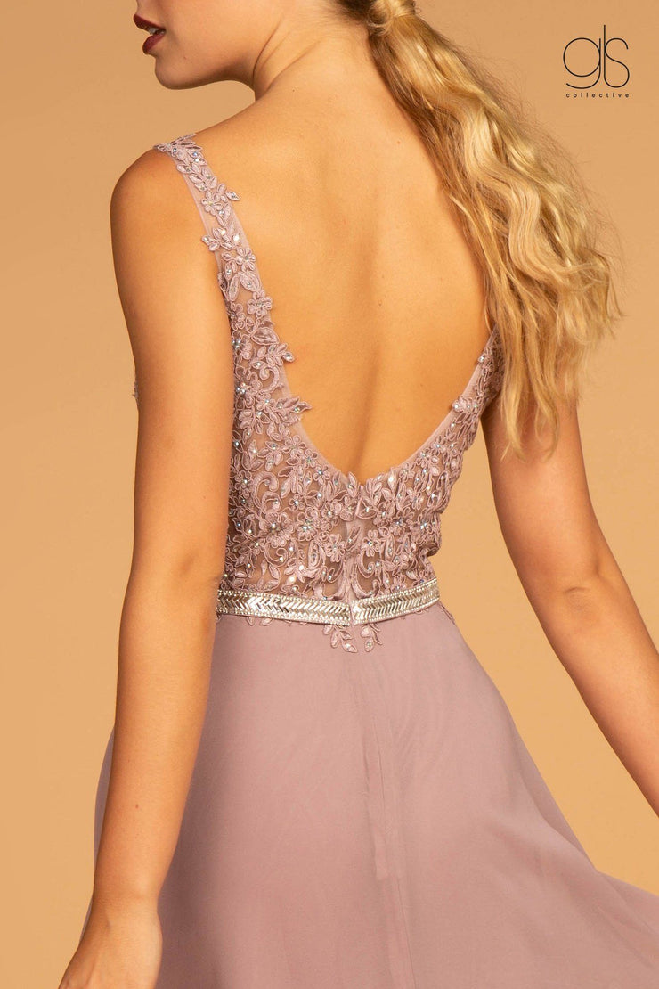 Long Illusion V-Neck Dress with Embroidered Top by Elizabeth K GL2653-Long Formal Dresses-ABC Fashion