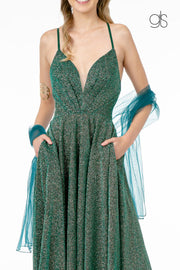 Long Illusion V-Neck Metallic Glitter Dress by Elizabeth K GL1828