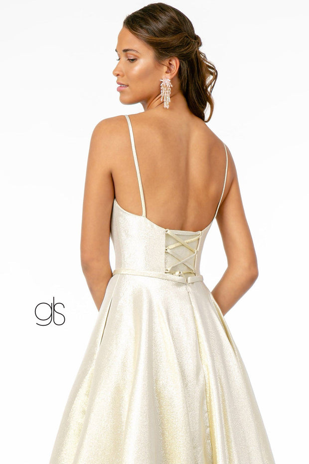 Long Iridescent Glitter Dress with Corset Back by Elizabeth K GL2951