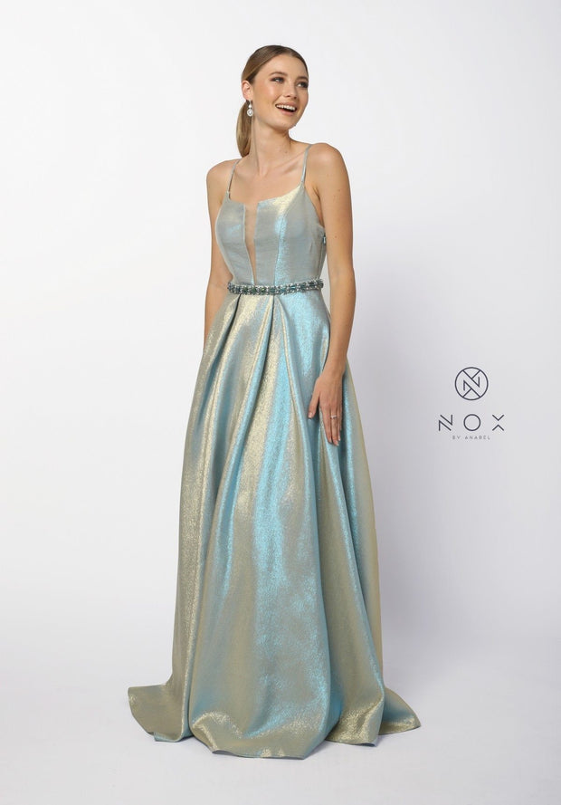 Long Iridescent Glitter Dress with Illusion Neckline by Nox Anabel M271-Long Formal Dresses-ABC Fashion