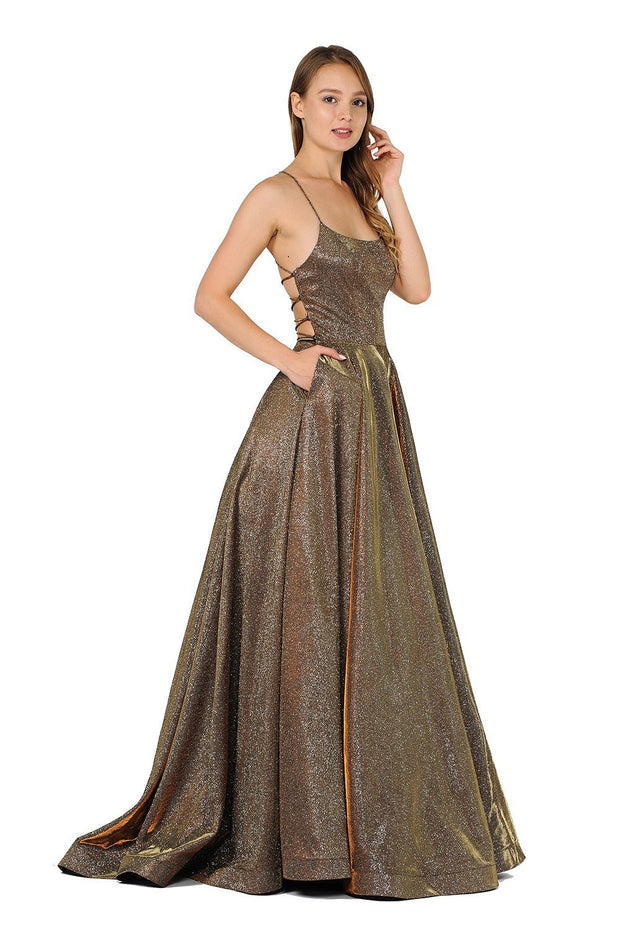 Long Iridescent Glitter Dress with Open Corset Back by Poly USA 8458-Long Formal Dresses-ABC Fashion