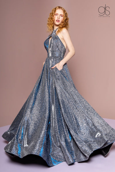 Long Iridescent Glitter Halter Dress with Pockets by Elizabeth K GL2707-Long Formal Dresses-ABC Fashion