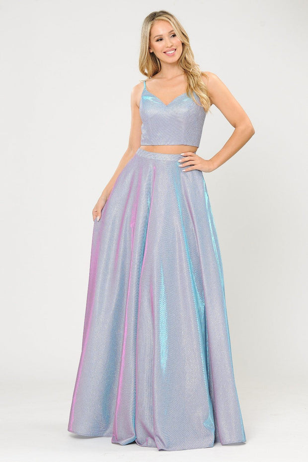 Long Iridescent Glitter Two Piece Dress by Poly USA 8676