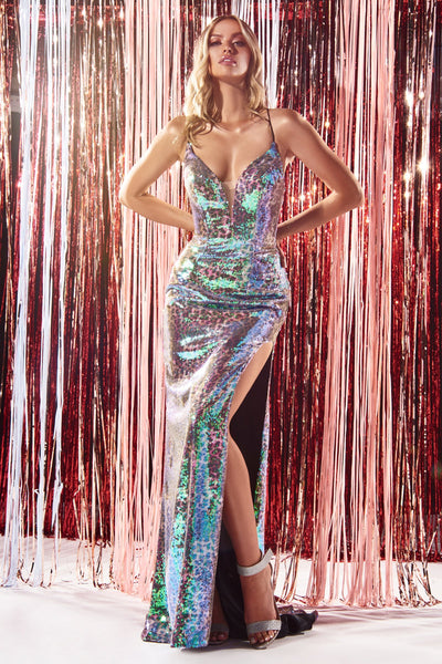 Long Iridescent Leopard Print Dress by Cinderella Divine CDS394