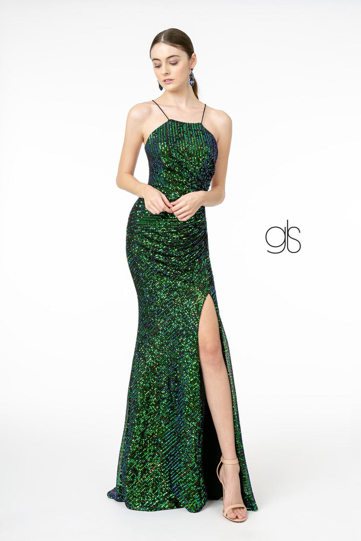 Long Iridescent Sequin Dress with Side Slit by Elizabeth K GL1812