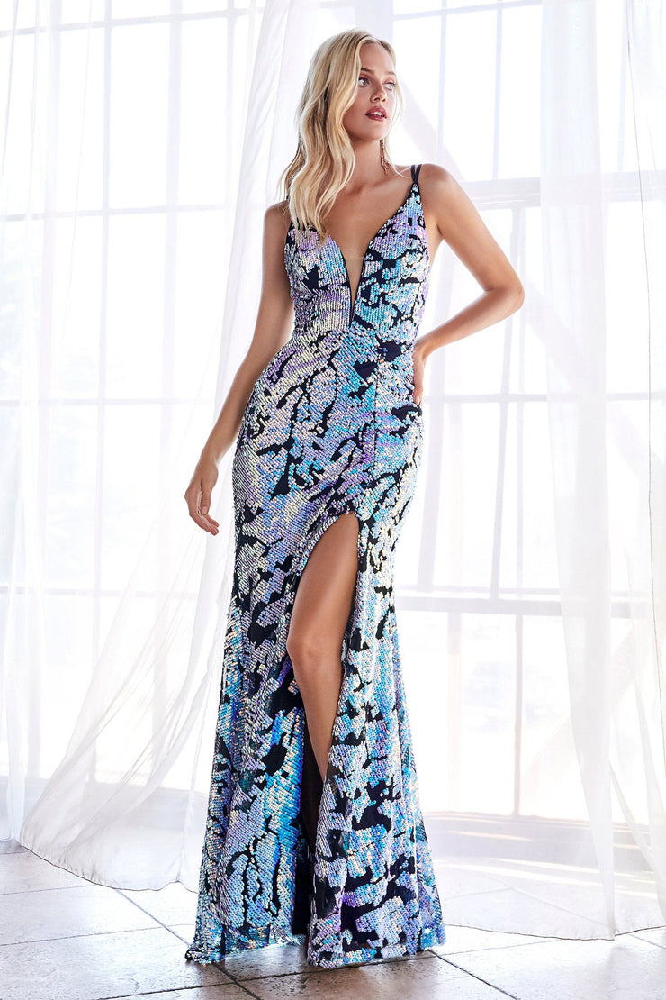 Long Iridescent Sequin Print Dress by Cinderella Divine CF346