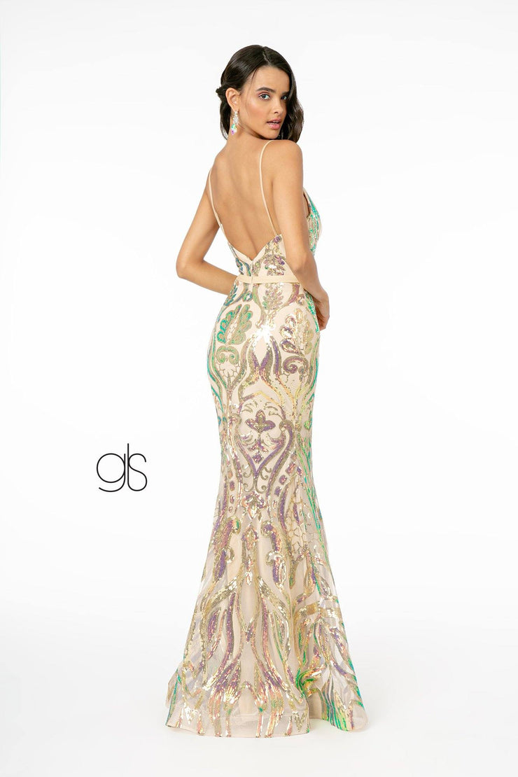 Long Iridescent Sequin Print Mermaid Dress by Elizabeth K GL1845