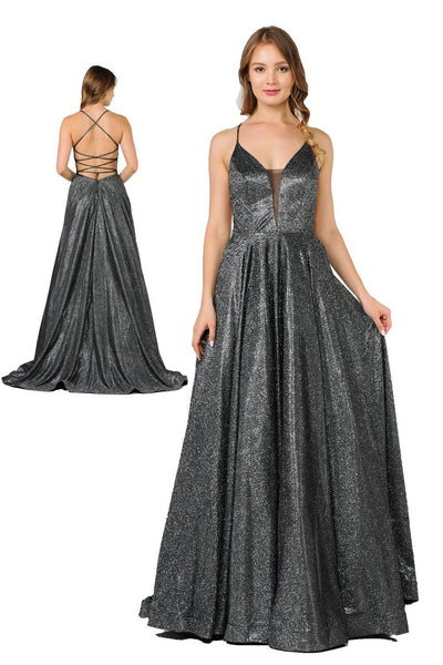 Long Iridescent V-Neck Dress with Open Corset Back by Poly USA 8470-Long Formal Dresses-ABC Fashion