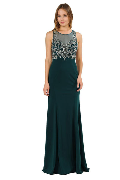 Long Jersey Dress with Sheer Embroidered Bodice by Poly USA 8348-Long Formal Dresses-ABC Fashion