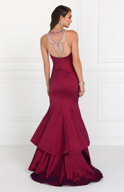 Long Jeweled Dress with Two Tiered Skirt by Elizabeth K GL2290-Long Formal Dresses-ABC Fashion