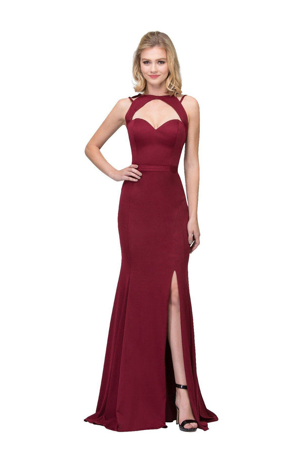 Long Keyhole Bodice Sweetheart Dress with Slit by Star Box 17278-Long Formal Dresses-ABC Fashion