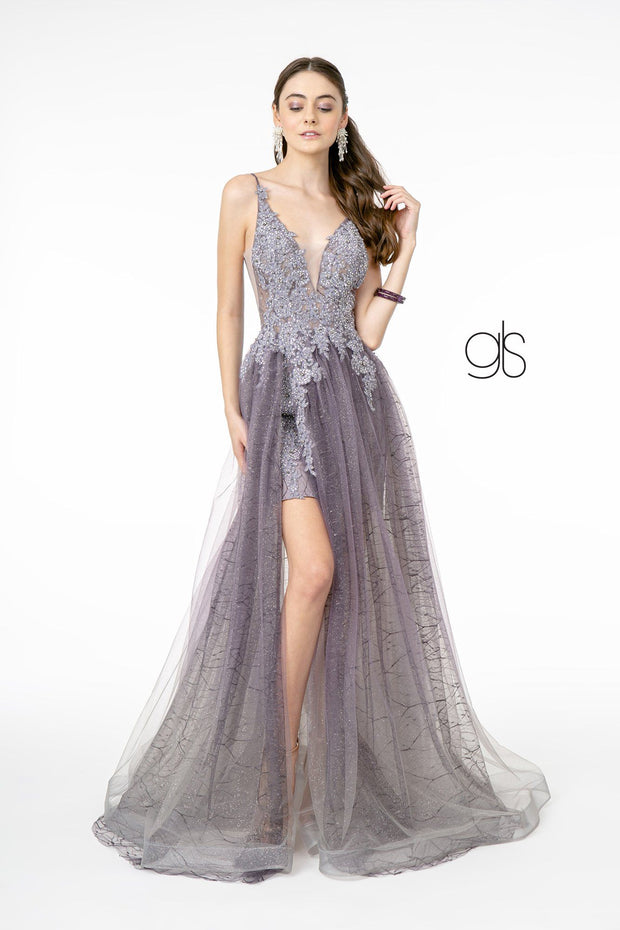 Long Lace Applique A-line Dress by Elizabeth K GL1807